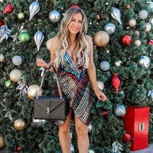 Sequin sparkle wrap dress multi color Vici medium